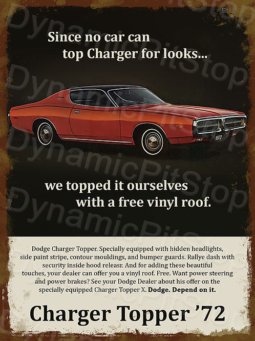 30x40cm Chrysler Charger 1972 Topper Rustic Decal or Tin Sign