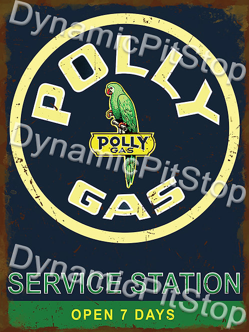 30x40cm Polly Gas Service Station Logo Rustic Decal or Tin Sign
