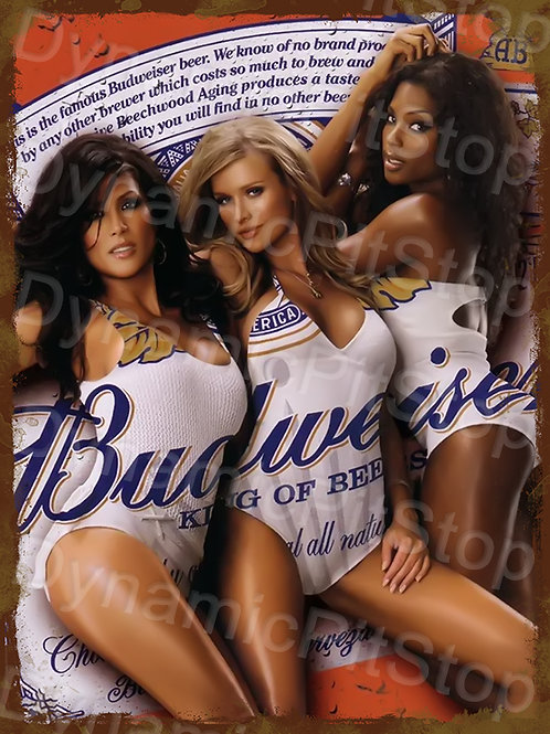 30x40cm Budweiser Girls Rustic Decal or Tin Sign