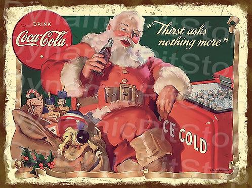 40x30cm Coke Santa Rustic Decal or Tin Sign