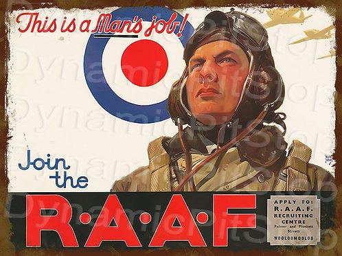 40x30cm RAAF Military Pilot Rustic Decal or Tin Sign