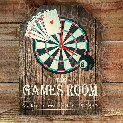 30cm x 40cm Games Room Rustic Clock