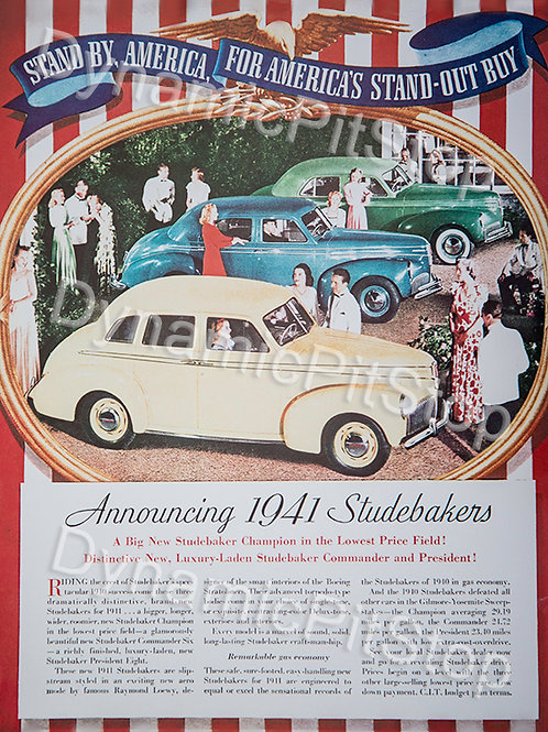 30x40cm Studebaker 1941 Vintage Ad Decal or Tin Sign