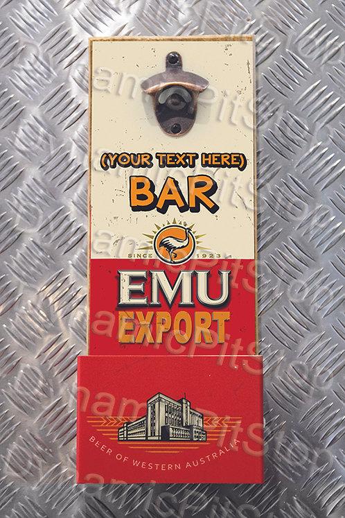 40cm x 15cm Personalised Emu Export Rustic Wall Bottle Opener & Catcher