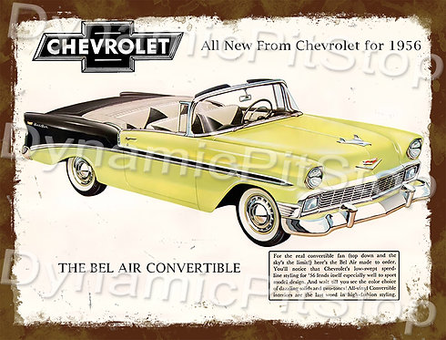 40x30cm Chevrolet 1956 Convertible Rustic Decal or Tin Sign