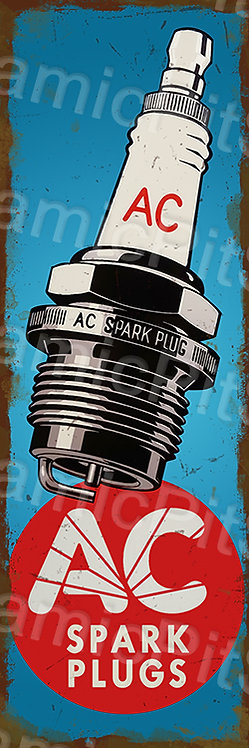 20x60cm AC Spark Plugs Rustic Decal or Tin Sign