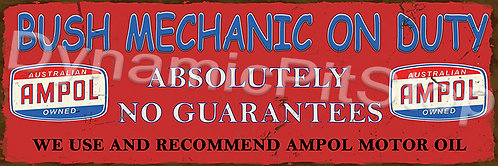 60x20cm Ampol Bush Mechanics Rustic Decal or Tin Sign