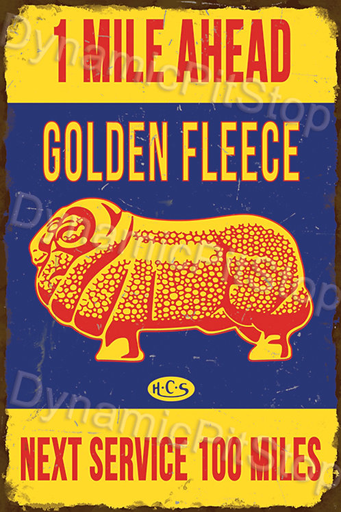 40x60cm Golden Fleece Next Service Rustic Decal or Tin Sign