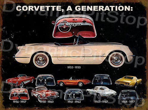 40x30cm Corvette Generation Rustic Decal or Tin Sign