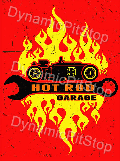 30x40cm Hot Rod Garage Flames Decal or Tin Sign