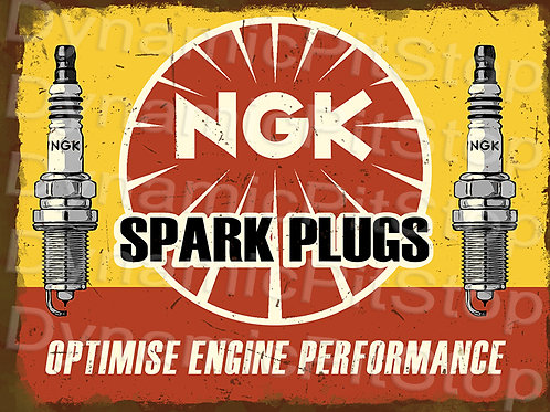 40x30cm NGK Spark Plugs Rustic Decal or Tin Sign