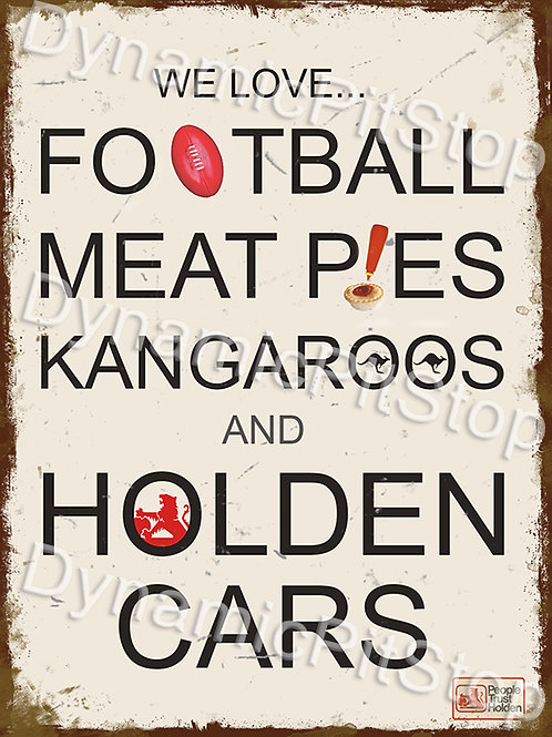 30x40cm We Love Holden Cars Rustic Decal or Tin Sign
