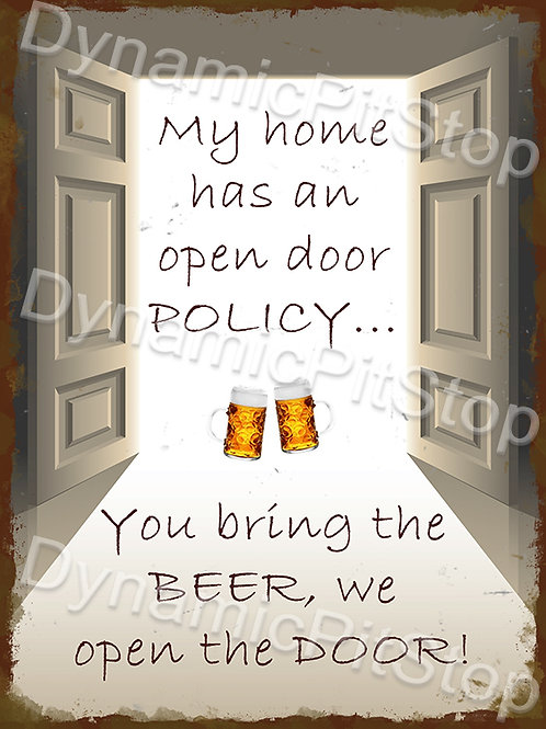 30x40cm Open Door Policy Beer Rustic Decal or Tin Sign