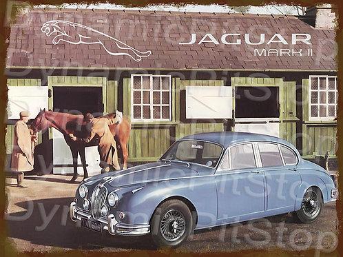 40x30cm Jaguar Mark II Rustic Decal or Tin Sign