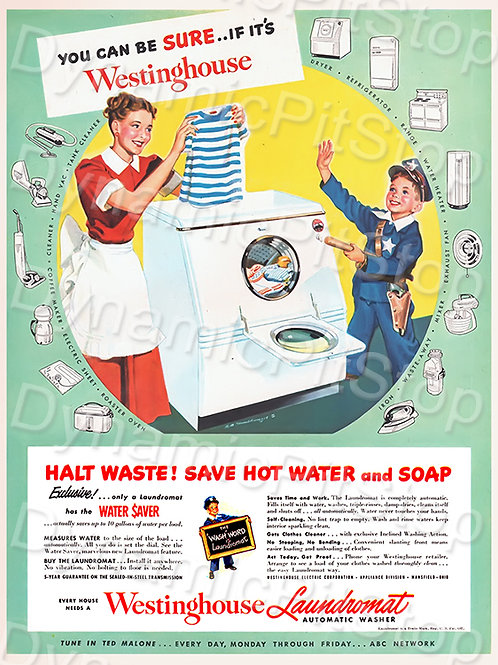 30x40cm Westinghouse Washing Decal or Tin Sign