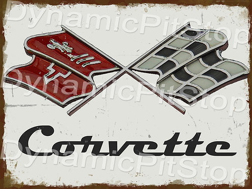 40x30cm Corvette Flags Badge Rustic Decal or Tin Sign