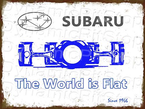 40x30cm Subaru World is Flat Rustic Decal or Tin Sign