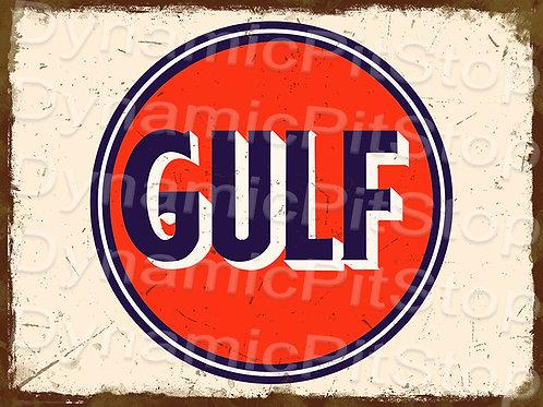 40x30cm Gulf Logo Rustic Decal or Tin Sign