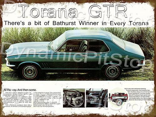 40x30cm Holden GTR LC Torana  Rustic Decal or Tin Sign