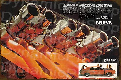 60x40cm Chrysler Motor Decal or Tin Sign