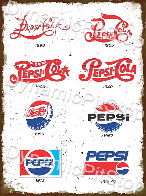 30x40cm Pepsi Cola Logo Evolution Rustic Decal or Tin Sign