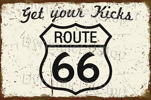 60x40cm Route 66 Rustic Decal or Tin Sign
