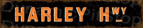 60x12cm Harley Hwy Rustic Tin Street Sign