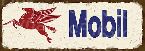 Large 99x35cm Mobil Logo Rustic Decal or Sign