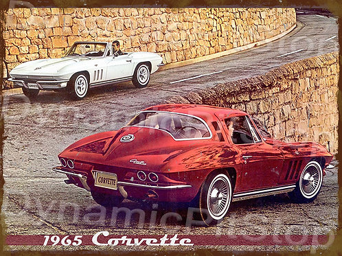 40x30cm Corvette 1965 Rustic Decal or Tin Sign