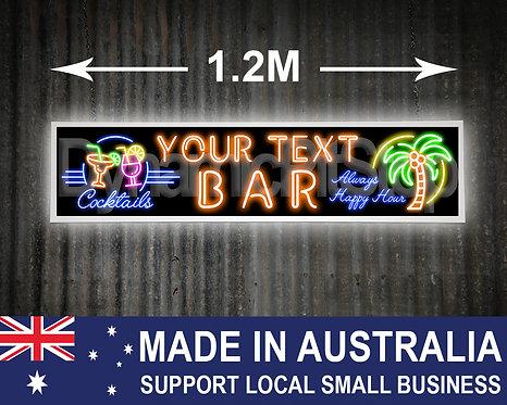 Large Illuminated Neon Style Custom Bar Sign: Tropical, Aloha, Tiki