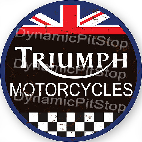60cm Triumph Motorcycles Round Tin Sign