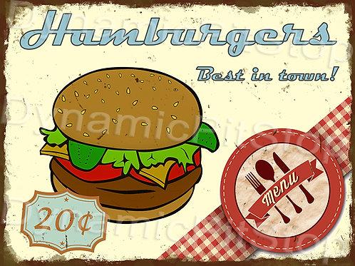 40x30cm Hamburger Rustic Decal or Tin Sign