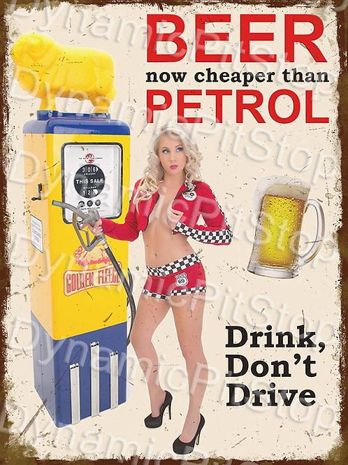 30x40cm Drink, Don't Drive Rustic Decal or Tin Sign