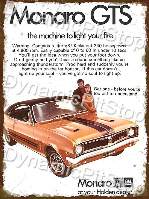 30x40cm Holden Monaro GTS Rustic Decal or Tin Sign