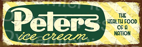 60x20cm Peters Ice Cream Rustic Decal or Tin Sign