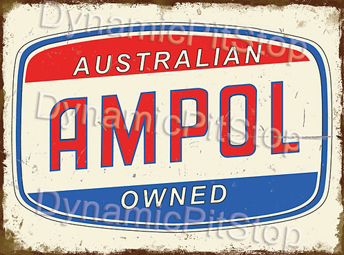 40x30cm Ampol Rustic Decal or Tin Sign