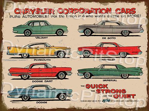 40x30cm Chrysler Cars 1960 Rustic Decal or Tin Sign