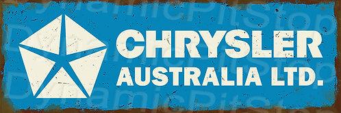 60x20cm Chrysler Australia Logo Rustic Decal or Tin Sign