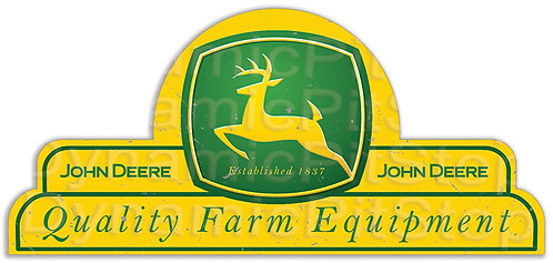 65x30cm John Deere Farm Equipment Shield Tin Sign