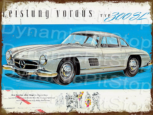 40x30cm Mercedes Benz 300 SL Rustic Decal or Tin Sign