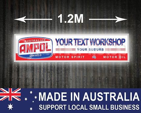 Large Illuminated Ampol Custom Workshop Sign