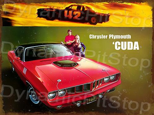 40x30cm Plymouth 1971 Cuda Rustic Decal or Tin Sign