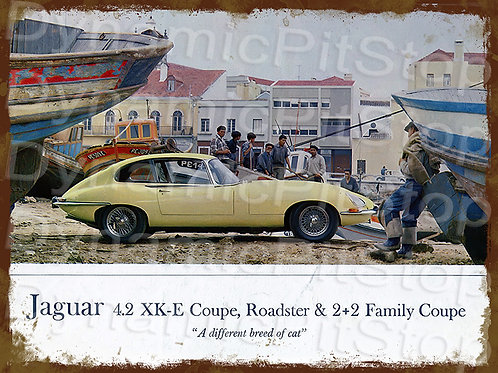 40x30cm Jaguar XKE Coupe Rustic Decal or Tin Sign