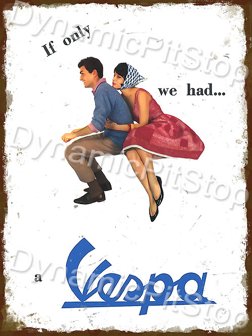 30x40cm Vespa Rustic Decal or Tin Sign