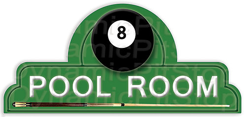 65x30cm Pool Room Shield Tin Sign