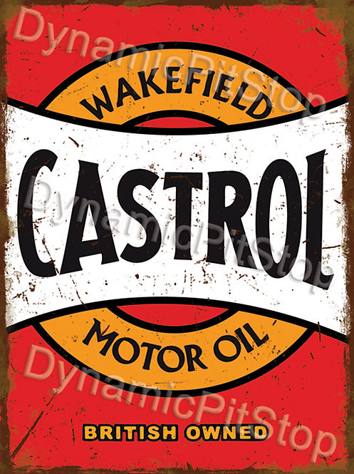 30x40cm Castrol Motor Oil Rustic Decal or Tin Sign