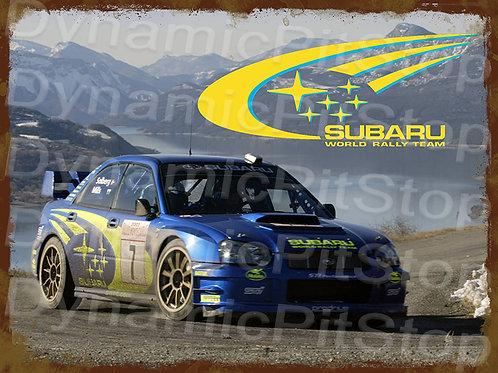 40x30cm Subaru World Rally Rustic Decal or Tin Sign