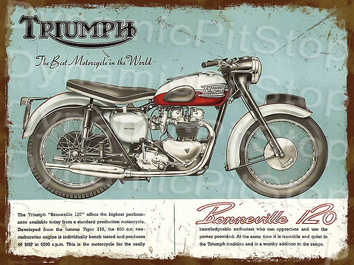 40x30cm Triumph Bonneville Motorcycle Rustic Decal or Tin Sign