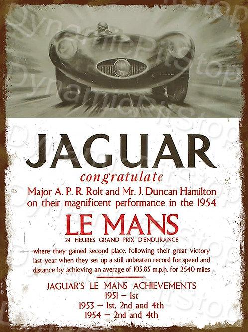 30x40cm Jaguar Le Mans Rustic Decal or Tin Sign