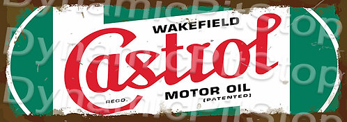 Large 99x35cm Castrol Motor Oil Rustic Decal or Sign